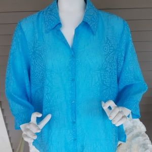 JH Collectibles Turquoise Plus size Blouse